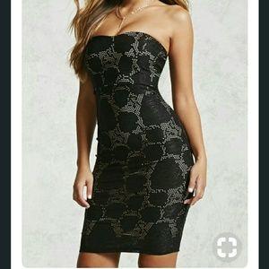 NWT Forever 21 Contrast Mesh Strapless Dress